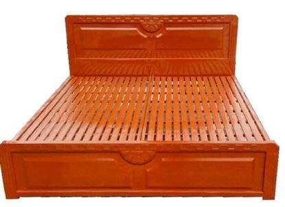 Giường sắt giả gỗ màu nâu ngang 1m4