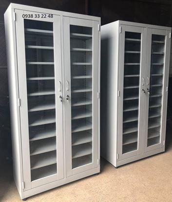 Tủ hồ sơ 2 cánh mở kính 11 ngăn 2CMK11N